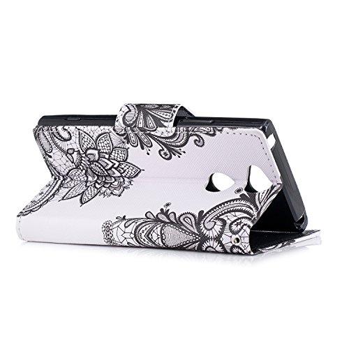 Funda para Sony Xperia XA2 , IJIA Flores De Vid TPU + PU Cuero Ranuras para Tarjetas de Crédito Flip Caja [Estilo Libro,Soporte Plegable ] Cover Tapa Caso Parachoques Carcasa Cubierta Shell para Sony