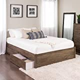Prepac Queen 4-Post Platform Bed with 2 Drawers in Drifted Gray