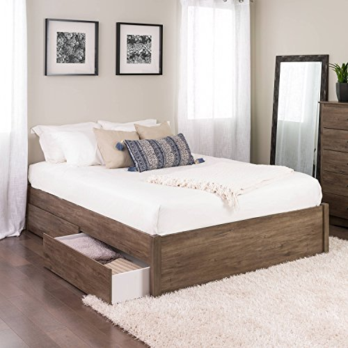 (Queen Select 4-Post Platform Bed with 4 Drawers, Drifted Gray)