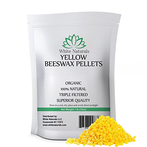 WHITE NATURALS Organic Yellow Beeswax Pellets, 1 (Natural White Wood Tube Necklace)
