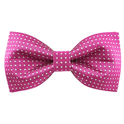 Bow Pink 24' (Mens Wedding Party Prom Polka Dots Pre-tied Bowtie Solid Bow Tie (Pink))