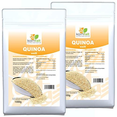 KORNFALT Quinoa Korn weiß - in Deutschland geprüfte Qualität (2 x 1 kg)