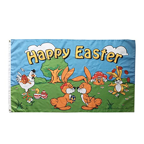 WOWMAR Happy Easter Flag- Bunny and Eggs Chick 3x5 Foot Bann
