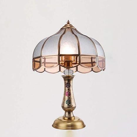 Lámpara de mesa American E27, luz de escritorio de cristal clásico ...