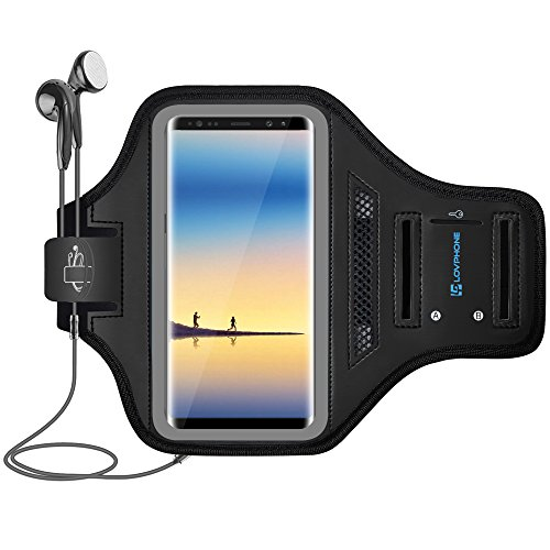 Neoprene Sport Case - Note 8 Armband - LOVPHONE Sport Running Exercise Gym Sportband Case for Samsung Galaxy Note 8,Fingerprint Sensor Access Supported, with Key Holder & Card Slot,Water Resistant and Sweat-proof(Gray)