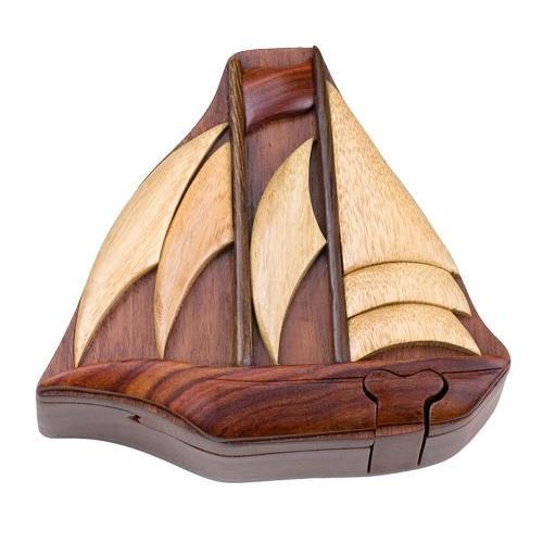 (Intarsia Hand Carved Wood Trinket / Jewelry Box - Ship)