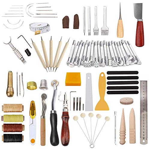 Leather Working Tools and Supplies, Dorhui 87 Pieces Leather Tools Leather Kit with Stitching Groover,Prong Punch,Edge Creaser for Sewing Leather, Canvas or Other Leather Artwork