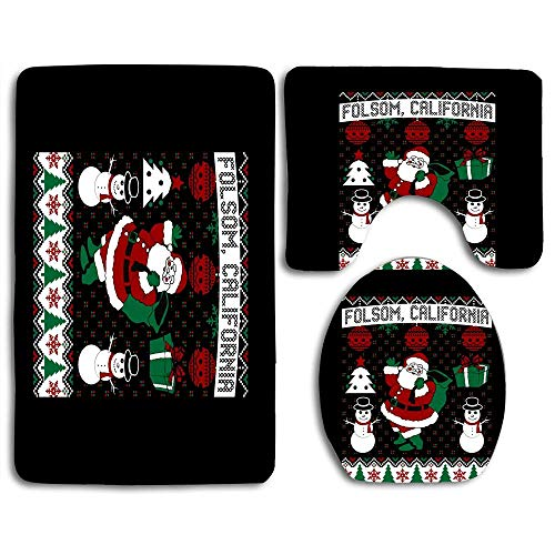 MusendoCustomPrints 3PCS Bath Mat Set, Non-Slip Bathroom Rug, Toilet Tank & Lid Cover Novelty Bathroom Decoration - Christmas Ugly Sweater Folsom California (Christmas Folsom Zoo)