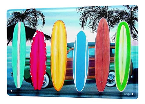 Tin Sign Retro Deco Vintage surfboards palm trees 8X12