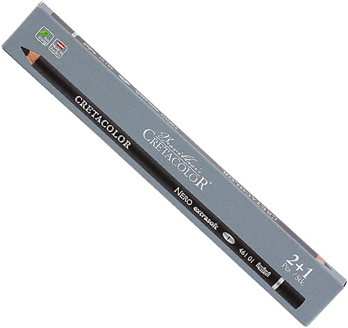 Black BC28963 Cretacolor Nero Pencil 3Pk X-Soft Med
