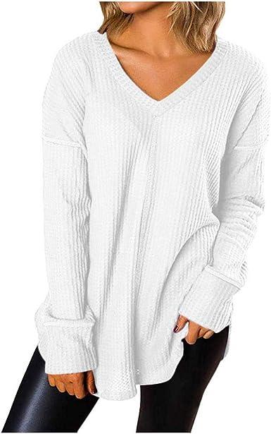VJGOAL Mujer Moda Casual Color sólido Cuello en v Manga Larga Nudo Gofre Tejido Blusa túnica Suelta Camisetas de Manga Larga Tops: Amazon.es: Ropa y accesorios