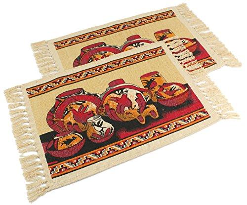 Native Pottery American Southwestern (Splendid Exchange Southwest Style Woven Cotton Stencil Placemats Set of 2, Pottery)