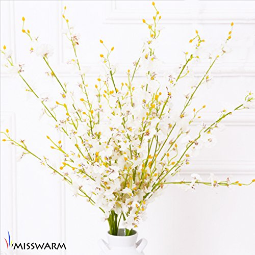 """Misswarm 10 Pieces 37.7"""" Long of Orchid Dancing lady  Butterfly Artificial Flower Artificial flowers Fake Flower for Wedding Home Office Party Hotel Restaurant Patio or Yard (Fake Sunflowers In Bulk)"""