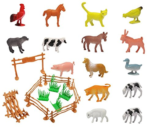 Animal Model Figures, Animal Action Toys Set Kids Education Toy with Fence (Farm Model)