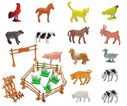 Farm Figurine - Homgaty 15 Pcs Farm Animal Model Figures, Animal Action Toys Set Kids Education Toy with Fence