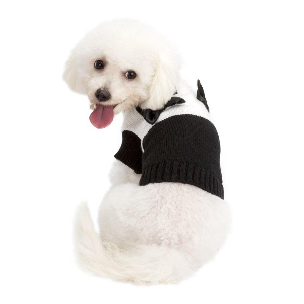 YiJee Cucciolo Natale Abbigliamento per Cane Animale Domestico Caldo Maglieria Maglione Nero 2XL
