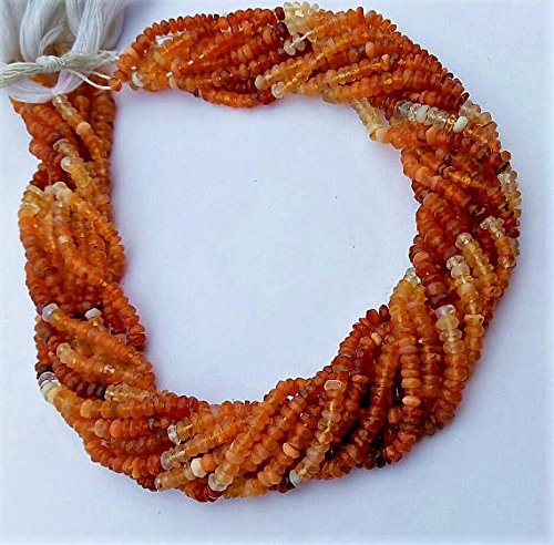 Mexican Fire opal faceted rondelle shape beads. excellent quality, 3 mm to 3.5 mm , 13 inch strand