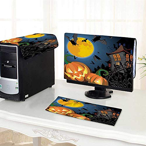 Jiahonghome Computer Cover 3 Pieces Scene with Halloween Haunted Party Theme Trick or Treat for Antistatic, Water Resistant -