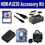 Sony HDR-PJ230 Camcorder Accessory Kit includes: SDNPFV50NEW Battery, SDM-109 Charger, SD4/16GB Memory Card, SDC-27 Case, HDMI6FMC AV & HDMI Cable, LED-70 On-Camera Lighting