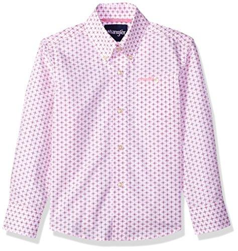 Wrangler Big Boys' Tough Enough To Wear Pink Long Sleeve Button Front Shirt, Pink/White, L - Pink Long Sleeve Button Front