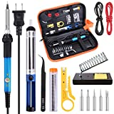Soldering Iron Kit Electronics 60W Adjustable Temperature Welding Tool,5pcs Soldering Iron Tips,Solder,Desoldering Pump,Wire Stripper Cutter,Soldering Tweezer,Soldering Iron Stand,2pcs Electronic Wire