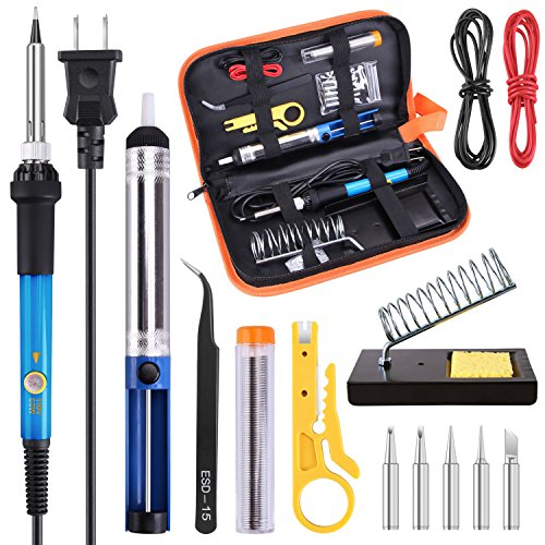 Soldering Iron Kit Electronics 60W Adjustable Temperature Welding Soldering Gun,5pcs Soldering Iron Tips,Solder,Desoldering Pump,Wire Stripper Cutter,Tweezer,Soldering Stand,2pcs Electronic Wire (Temperature Electronic)