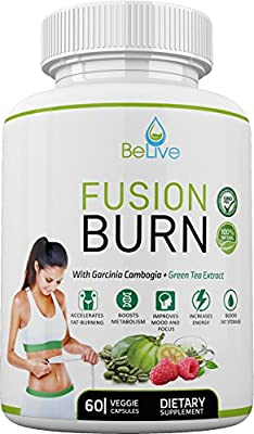 Garcinia Cambogia Fat Burner for Weight Loss*** - 4 in 1 Fusion Burn - Green Tea Extract, Raspberry Ketones, Green Coffee Bean Extract. 100% Natural, Made in USA.