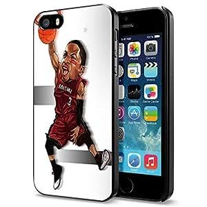 Basketball NBA Dwyane Wade 3 Miami Heat Cartoon, Cool iPhone 5 5s Smartphone Case Cover Collector iphone Black hjbrhga1544