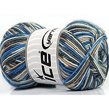 Lot of 8 Skeins Ice Yarns MINI SOCK (75% Superwash Wool) Yarn Grey Blue Cream White