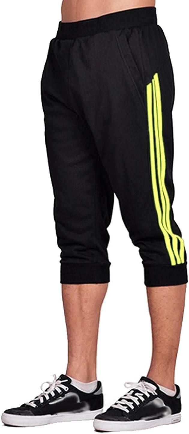 Anikigu Mens Casual Shorts Pants Jogger Summer Sport Sweatpants Jogging Gym Soft Baggy Walking Trousers 3//4 Shorts with Pockets