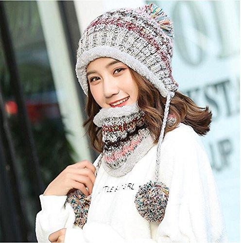 ee36efefd5a3e Fleece Lined Women Knit Beanie Scarf Set Girls Winter Ski Hat with Earflap  Pompom (Grey