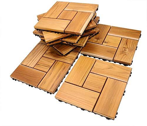 Teak Flooring Tiles, Easy Install Wood Interlocking Flooring Tiles 12 x 12 Inch for Indoor or Outdoor by HTB (Pack of 10) (Certified Flooring Wood Fsc)