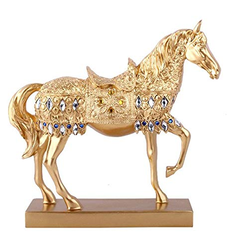 DAVITU Resin Gold and Silver Prancing Horse Statue Animal Sculpture Home Office Decoration Crafts Miniature Home Decoration Accessories - (Color: Gold)