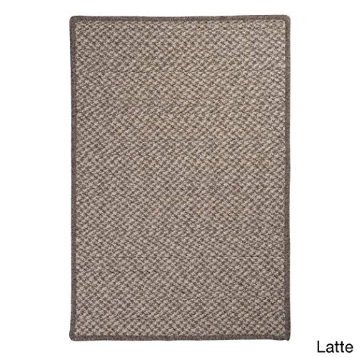 Colonial Mills Natural Wool Crisscross Braided Reversible Rug USA Made Latte 4' x 6' 4' x 6' Grey