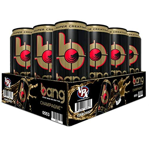 BANG Energy Drink with Zero Calories & High Caffeine, Champagne - 12 Drinks - VPX (Vital Pharmaceuticals)