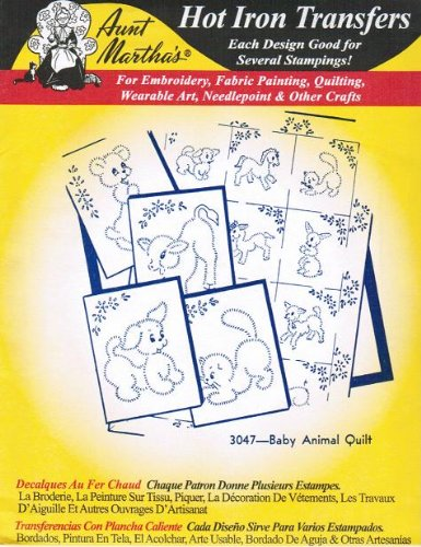 Baby Animal Quilt Aunt Martha's Hot Iron Embroidery Transfer