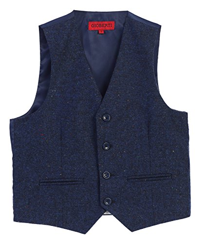 Gioberti Boy's Tweed Plaid Formal Suit Vest, Donegal Royal Blue, Size 10