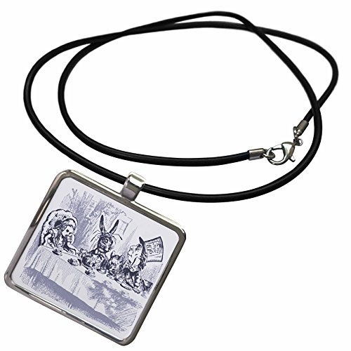 3dRose Florene Nursery Rhymes and Fairytales - Image of Mad Hatters Tea Party in Vintage Blue - Necklace with Rectangle Pendant (ncl_245085_1) ()