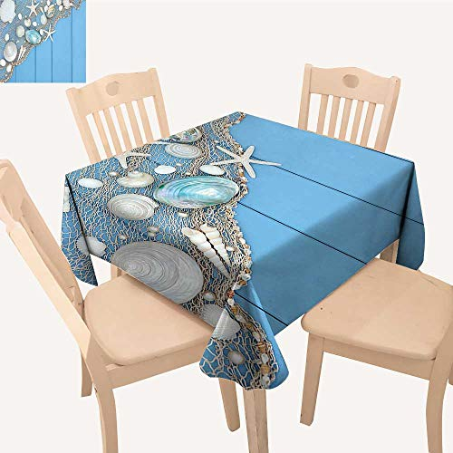 ter Tablecloth Fishing Net Wooden Blue Pearls Scallop Starfish Aquatic Blue White Square/Rectangle Multicolor,52x 52 inch ()
