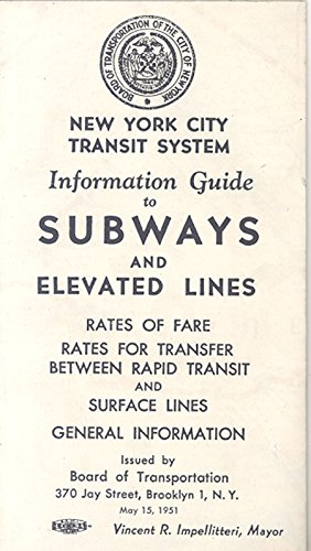 New York City Transit System Information Guide To Subways and Elevated Lines pamphlet