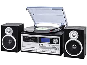 Trevi TT 1070 E Negro, Plata - Tocadiscos (Semiautomático, Negro, Plata, 33,45,78 RPM, Am,FM, SD, CD)