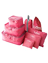 Evatex Packing Cubes - 8 psc Set Travel Packing Cubes, Waterproof, Shoe Bag, cosmetics/Laundry Bag (Pink)