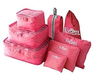 Evatex Packing Cubes - 8 psc Set Travel Packing Cubes, Waterproof, Shoe Bag, cosmetics/Laundry Bag (Pink)