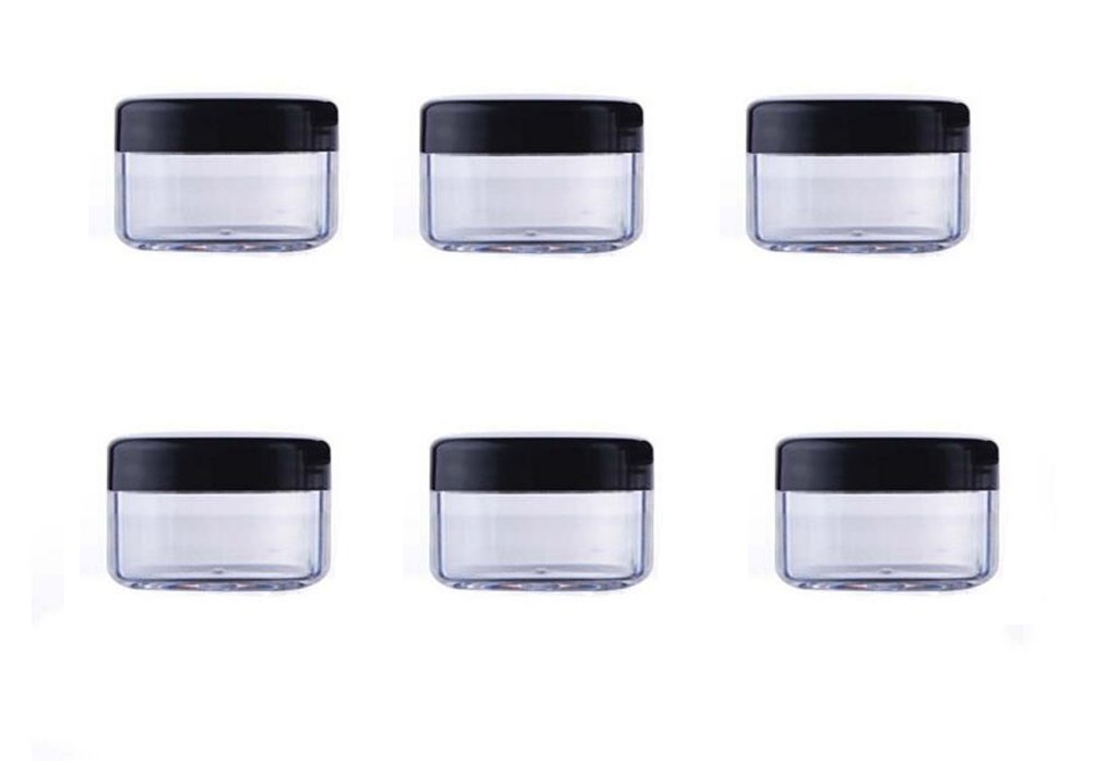 24PCS 10ML/15ML/20ML Clear Plastic Empty Refillable Sample Bottle Case Cosmetic Face Cream Vial Jar Pot Bottle Container Holder with Black Screw Cap Lid (20ml) Elandy
