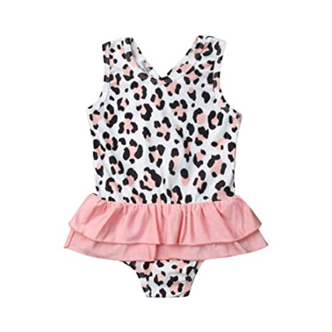 QIAODOUMADAI One Piece Toddler Baby Girls Leopardo Traje de ...
