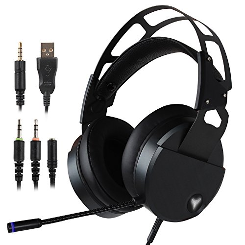 Stereo Gaming Headset for PS4 Xbox One, USB PC Gaming Headphone with Crystal Clear Sound, LED Lights & Noise-canceling Microphone for Laptop, Mac, iPad, Computer, Smartphones (Black) by YouFu