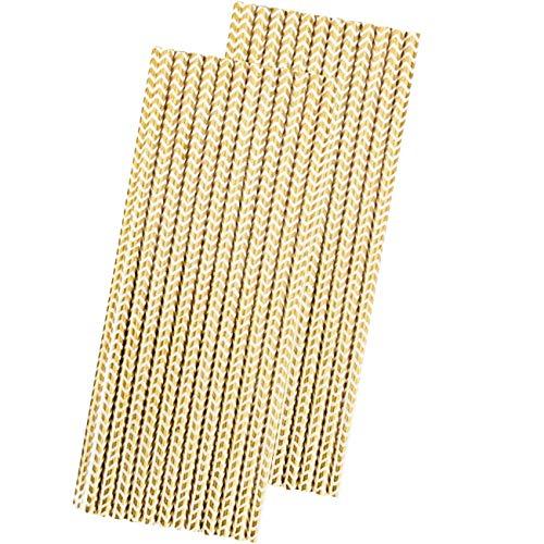Gold Foil Paper Straws - Chevron - 7.75 Inches - 50 -