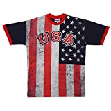 Distressed USA Flag Print Adult T-shirt (XX-Large)