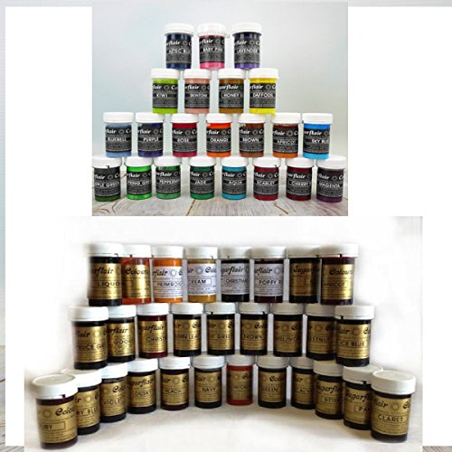 73 Sugarflair Food Colour pots of Gel Based Food Colour Plus Single 18ml pot of Cupcake Avenue Edible Glue by Sugarflair