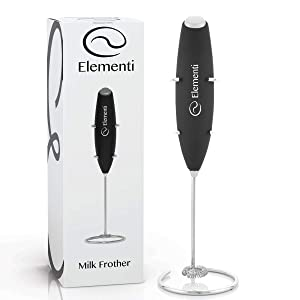 Milk Frother with Stand (Black) - Make Bulletproof and Keto Coffee, Lattes and Cappuccino at Home - Handheld with More Powerful High Torque Motor